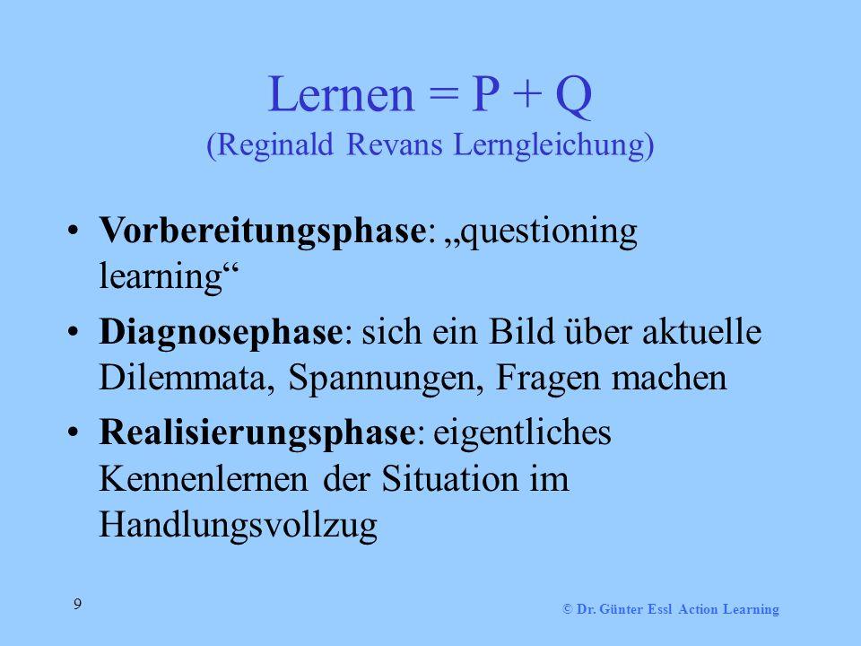 Lernen = P + Q (Reginald Revans Lerngleichung)