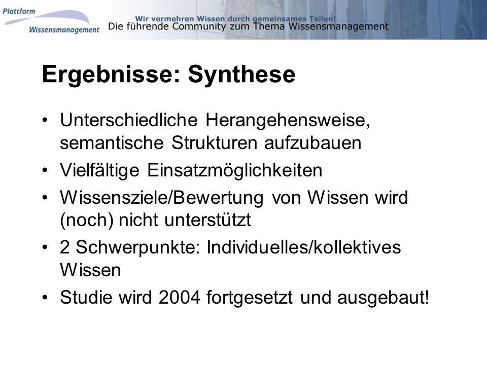 Ergebnisse: Synthese Unterschiedliche Herangehensweise, semantische Strukturen aufzubauen. Vielfältige Einsatzmöglichkeiten.