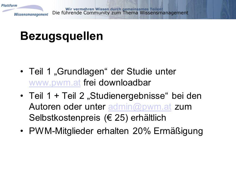 """Bezugsquellen Teil 1 """"Grundlagen der Studie unter www.pwm.at frei downloadbar."""