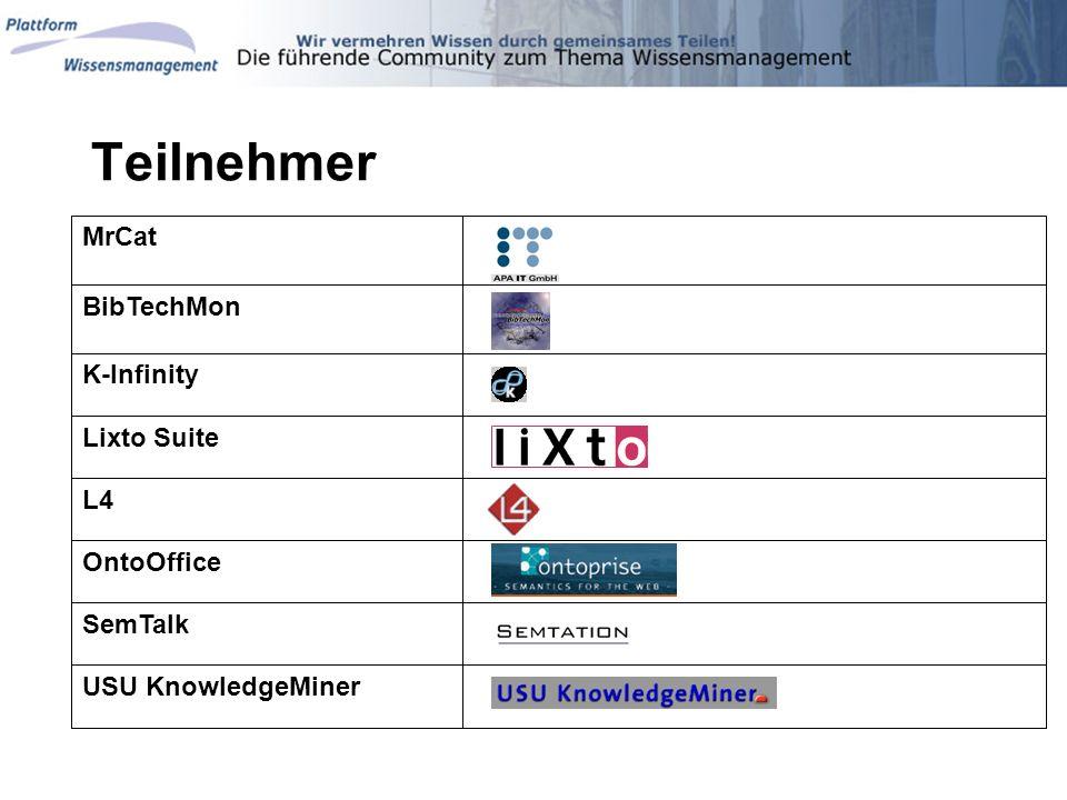 Teilnehmer MrCat BibTechMon K-Infinity Lixto Suite L4 OntoOffice