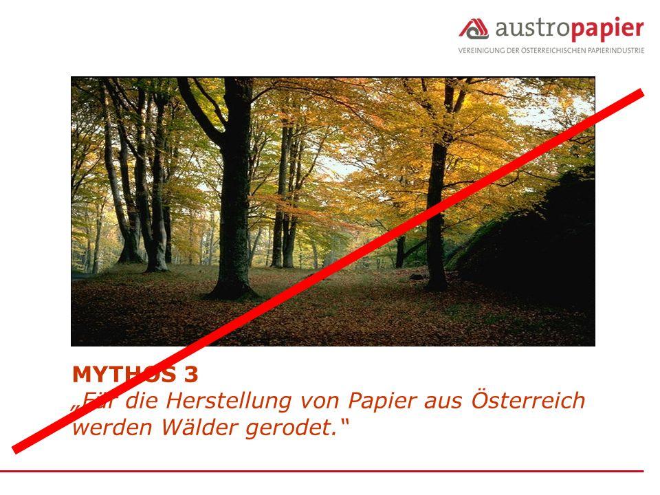 """MYTHOS 3 """"Für die Herstellung von Papier aus Österreich werden Wälder gerodet."""