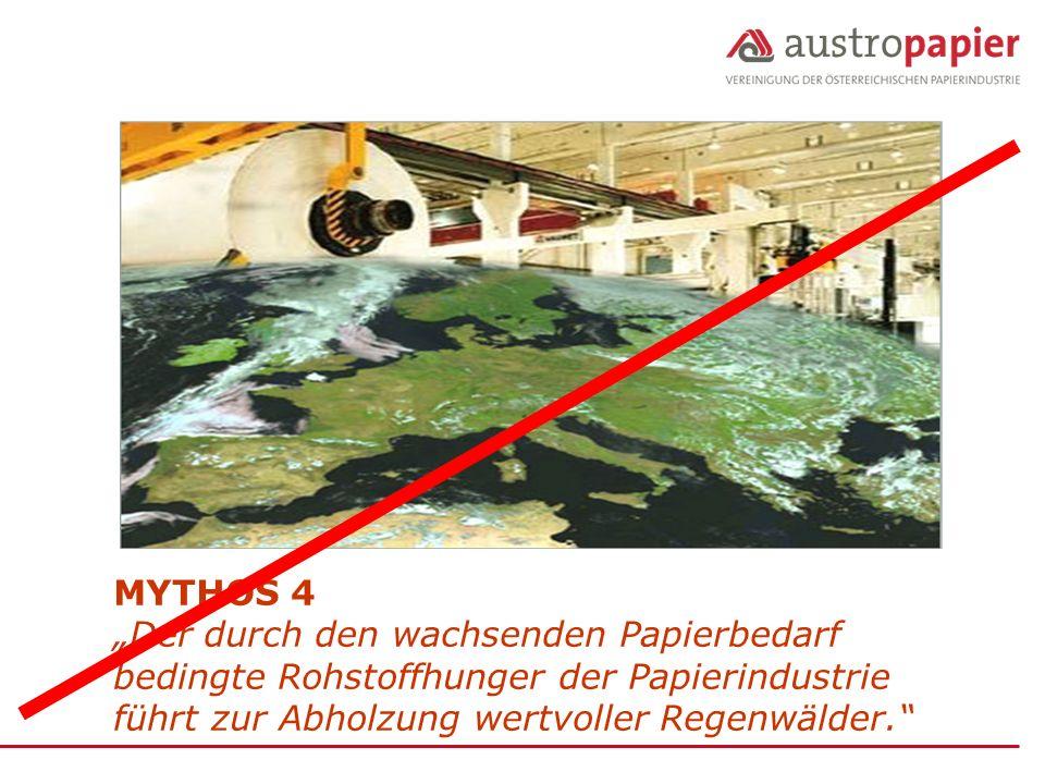 """MYTHOS 4 """"Der durch den wachsenden Papierbedarf bedingte Rohstoffhunger der Papierindustrie führt zur Abholzung wertvoller Regenwälder."""