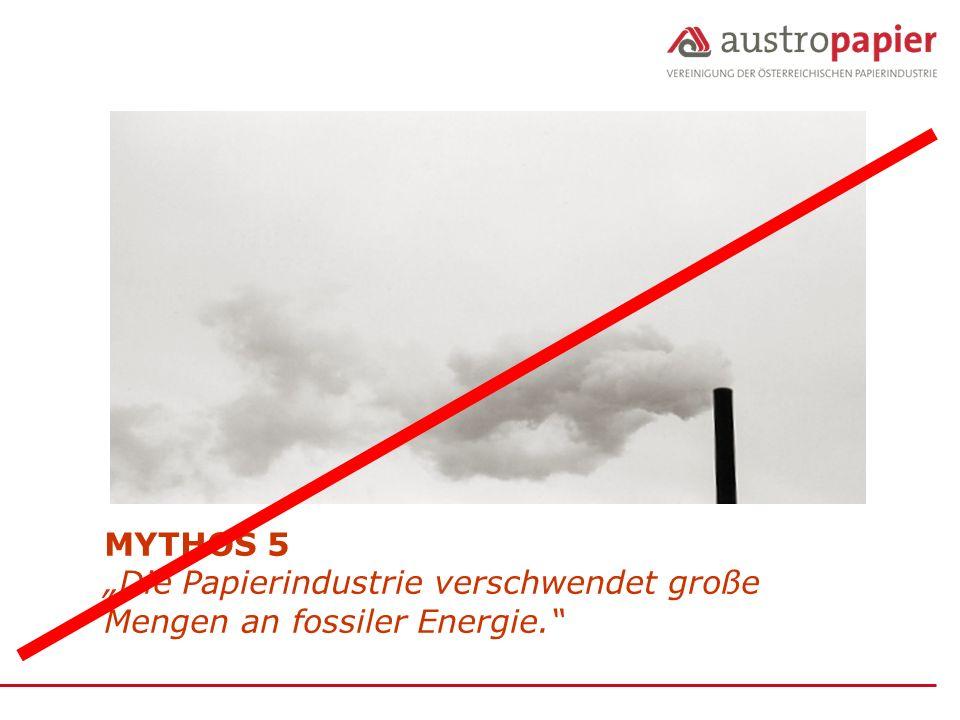 """MYTHOS 5 """"Die Papierindustrie verschwendet große Mengen an fossiler Energie."""