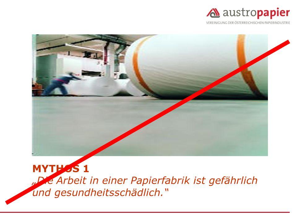 """MYTHOS 1 """"Die Arbeit in einer Papierfabrik ist gefährlich und gesundheitsschädlich."""