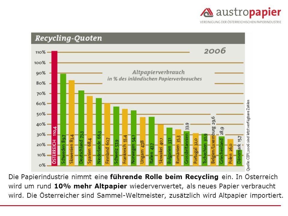 Die Papierindustrie nimmt eine führende Rolle beim Recycling ein