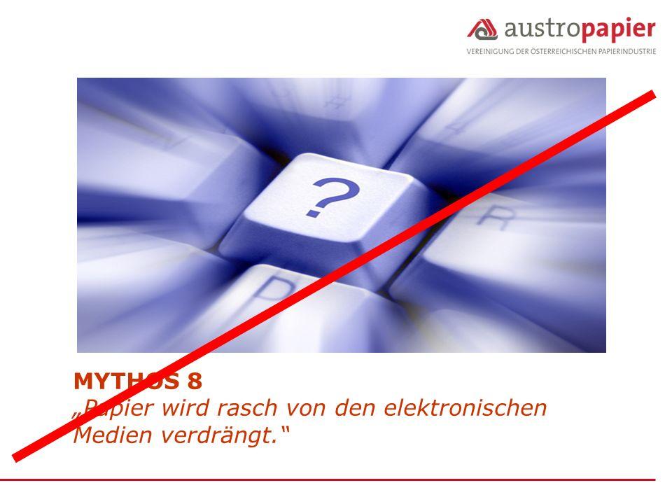 """MYTHOS 8 """"Papier wird rasch von den elektronischen Medien verdrängt."""