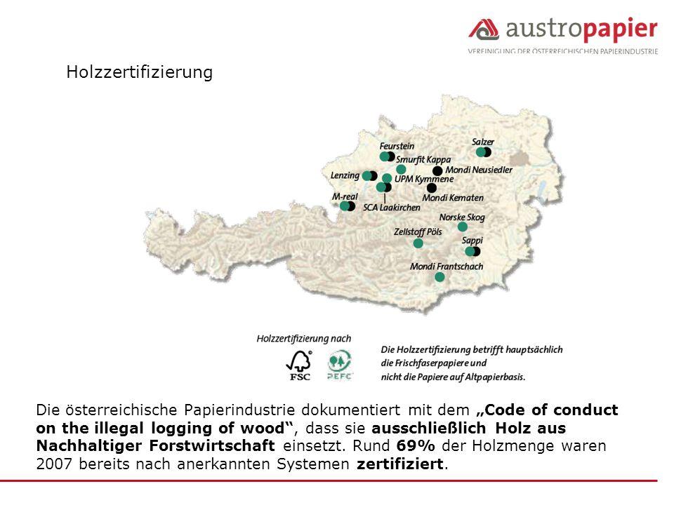 """Holzzertifizierung Die österreichische Papierindustrie dokumentiert mit dem """"Code of conduct."""