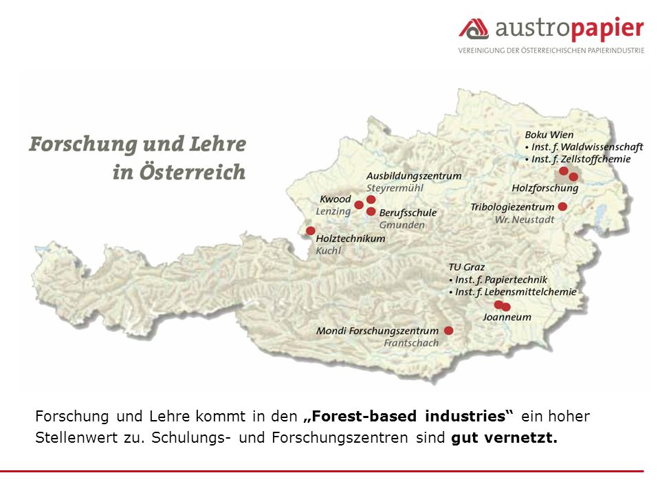 """Forschung und Lehre kommt in den """"Forest-based industries ein hoher"""