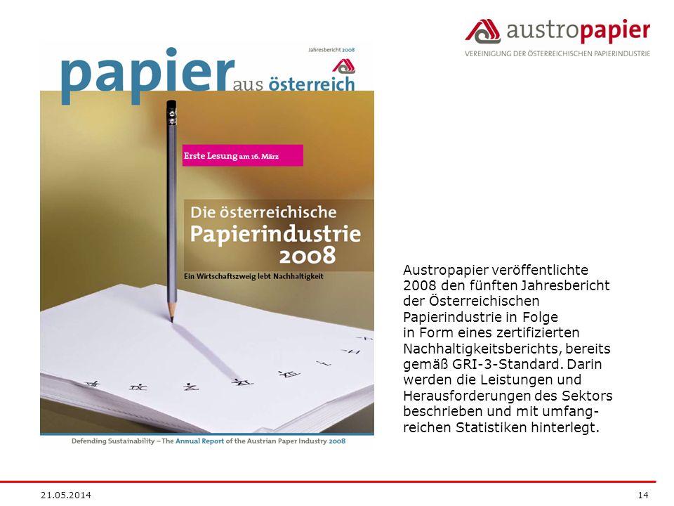 Austropapier veröffentlichte 2008 den fünften Jahresbericht