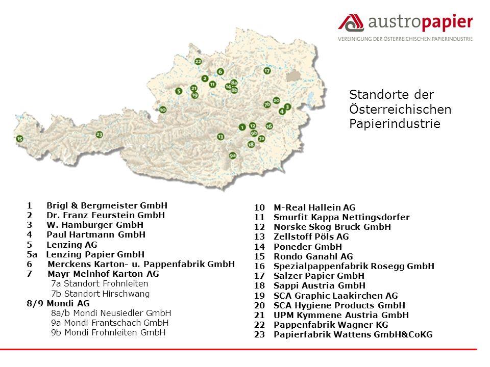 Standorte der Österreichischen Papierindustrie