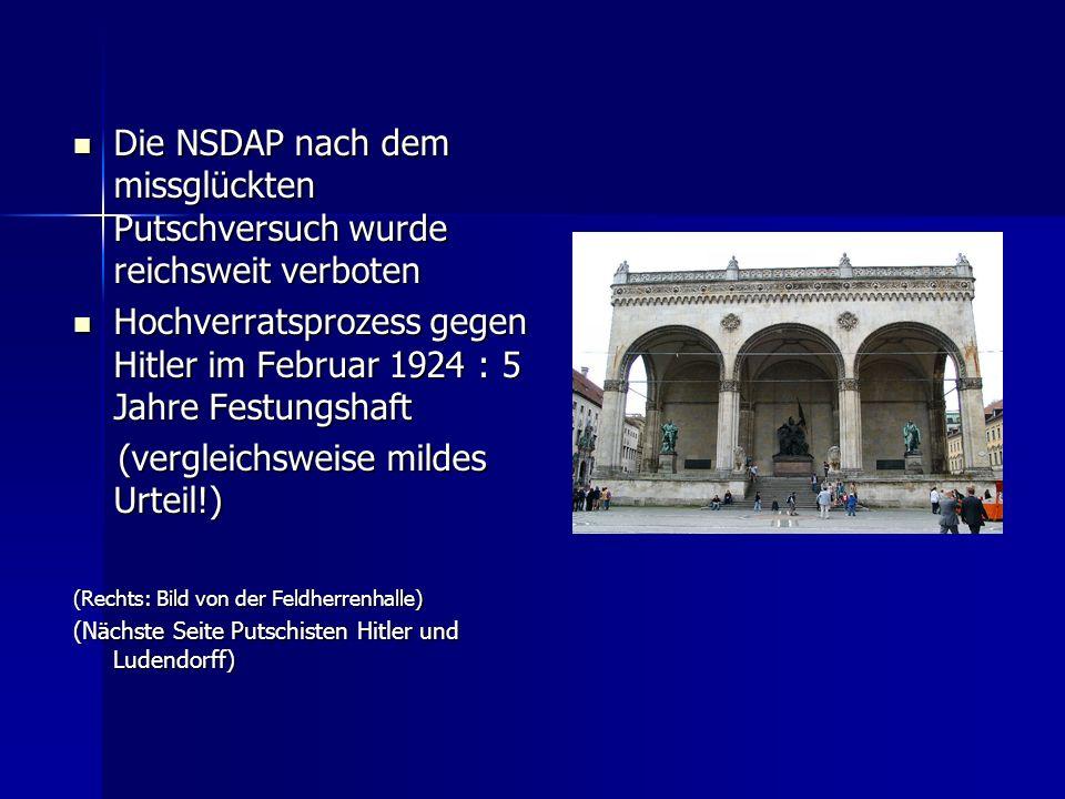 Hochverratsprozess gegen Hitler im Februar 1924 : 5 Jahre Festungshaft