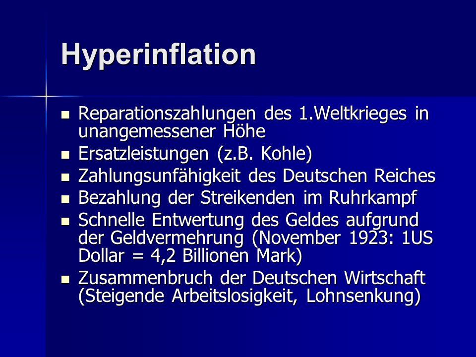 Hyperinflation Reparationszahlungen des 1.Weltkrieges in unangemessener Höhe. Ersatzleistungen (z.B. Kohle)
