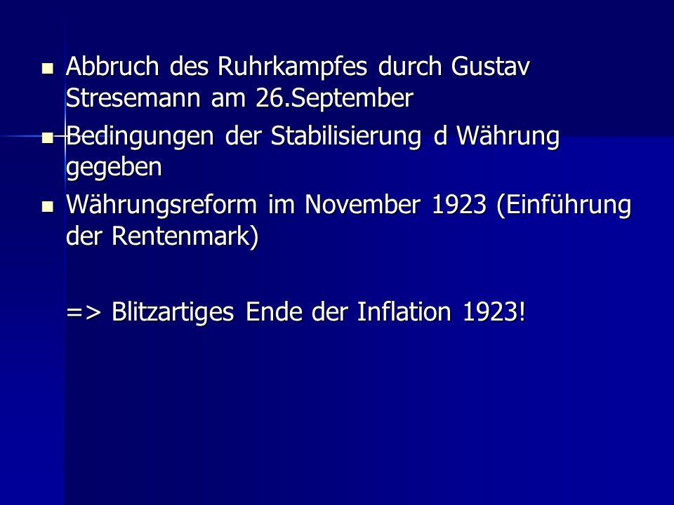 Abbruch des Ruhrkampfes durch Gustav Stresemann am 26.September