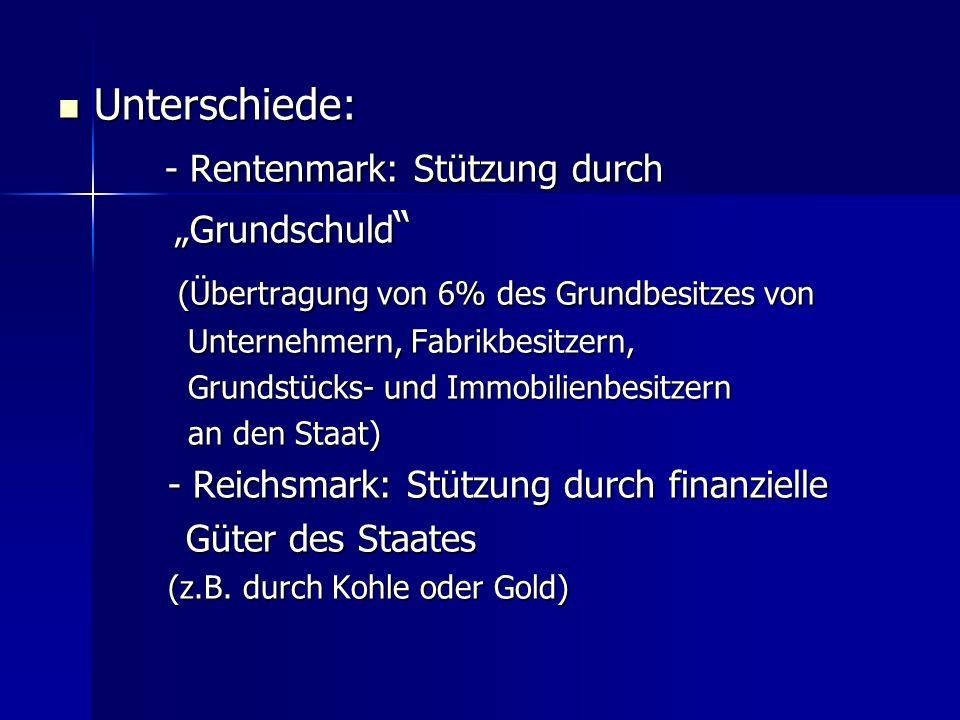 - Rentenmark: Stützung durch (Übertragung von 6% des Grundbesitzes von