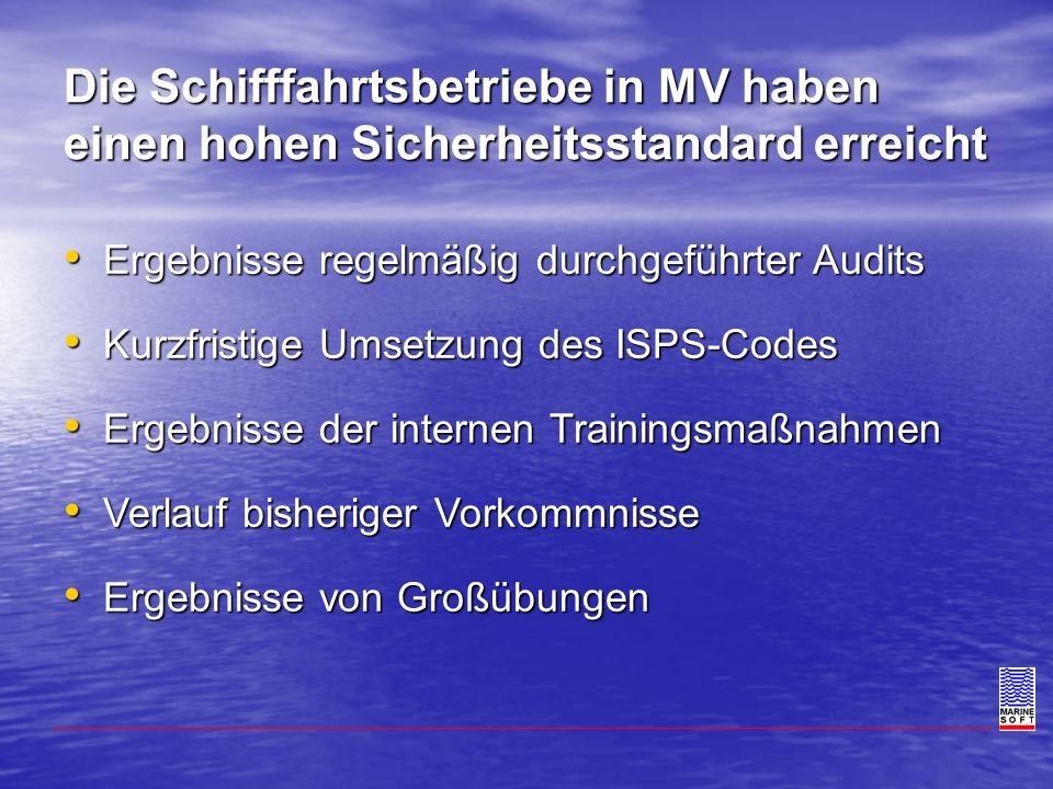 Die Schifffahrtsbetriebe in MV haben einen hohen Sicherheitsstandard erreicht