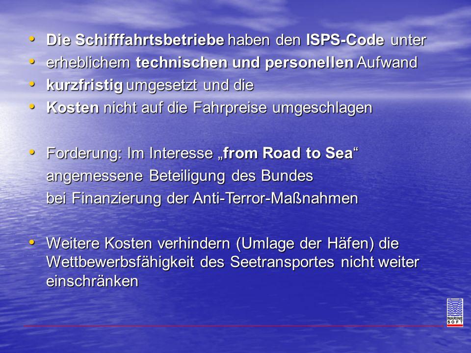 Die Schifffahrtsbetriebe haben den ISPS-Code unter