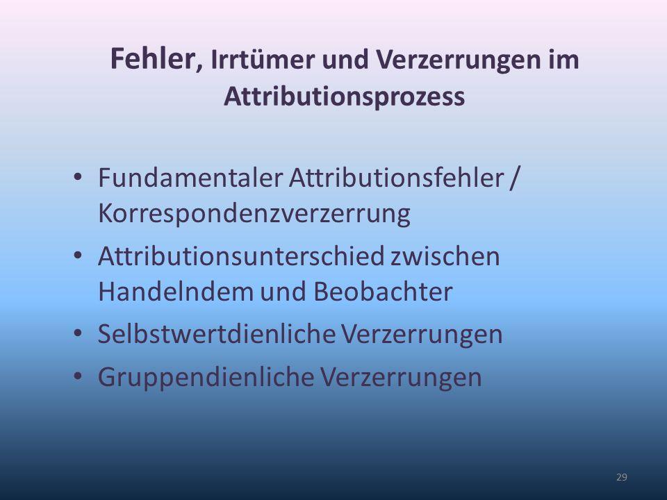 Fehler, Irrtümer und Verzerrungen im Attributionsprozess