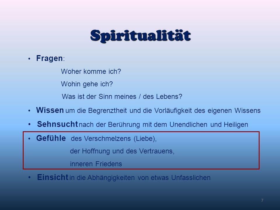 Spiritualität Fragen: Woher komme ich Wohin gehe ich Was ist der Sinn meines / des Lebens