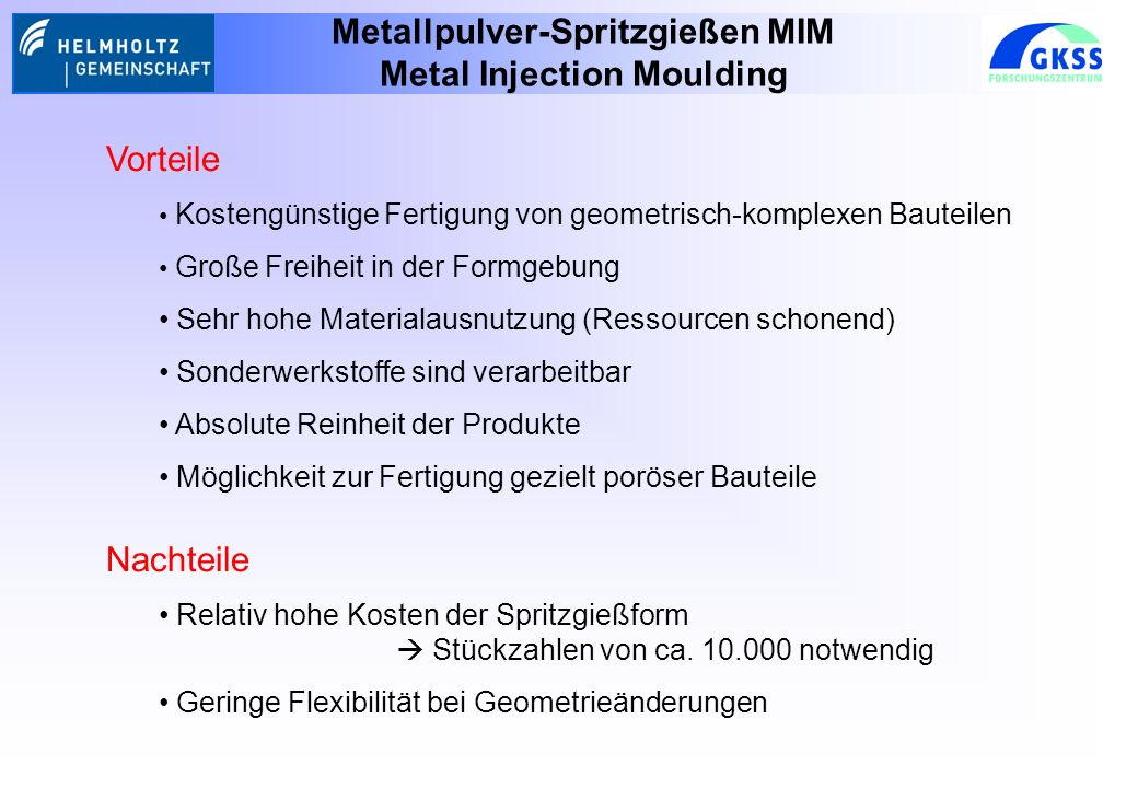 Metallpulver-Spritzgießen MIM Metal Injection Moulding