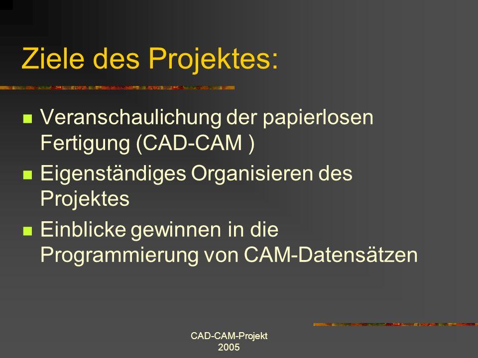 Ziele des Projektes: Veranschaulichung der papierlosen Fertigung (CAD-CAM ) Eigenständiges Organisieren des Projektes.