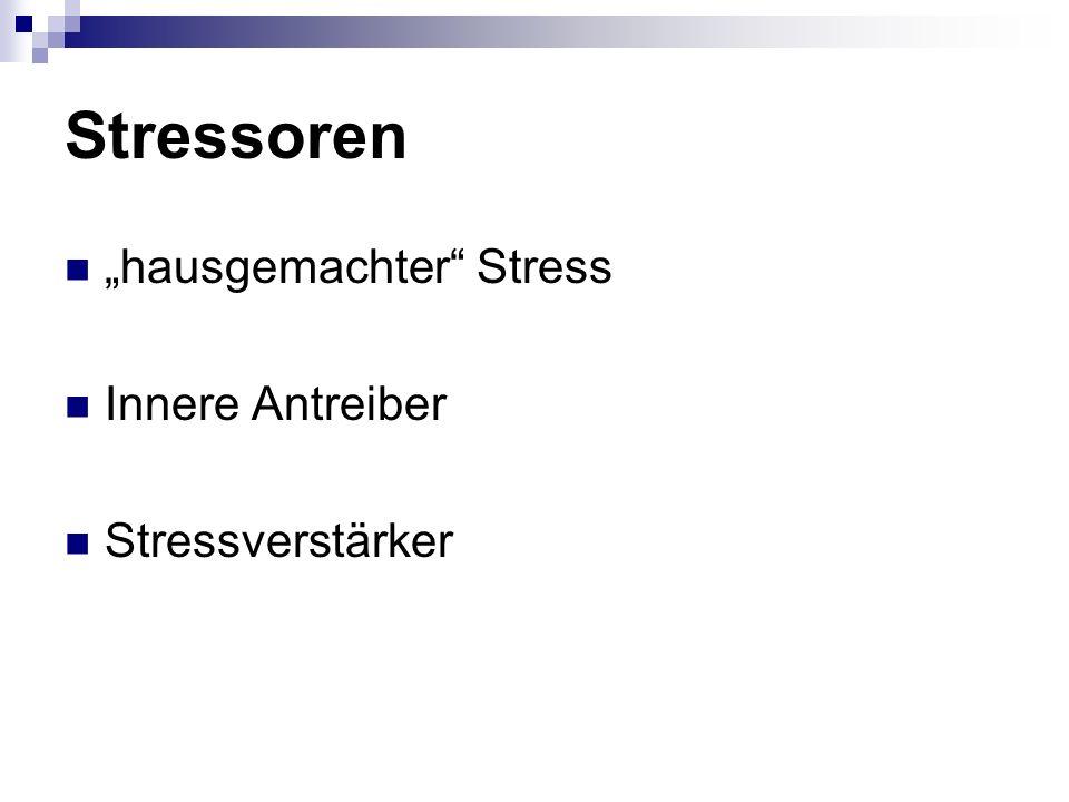 """Stressoren """"hausgemachter Stress Innere Antreiber Stressverstärker"""