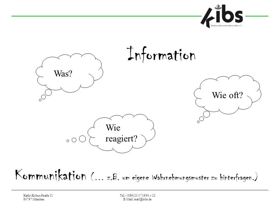 Information Was Wie oft Wie reagiert Kommunikation (… z.B. um eigene Wahrnehmungsmuster zu hinterfragen.)