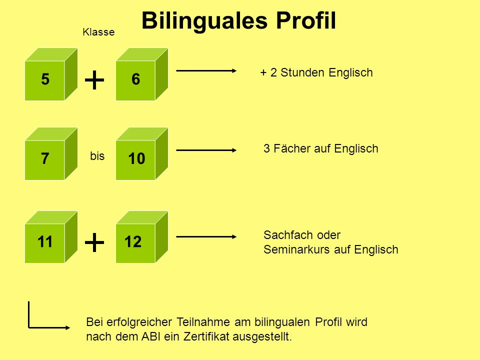 Bilinguales Profil 5 6 7 10 11 12 + 2 Stunden Englisch