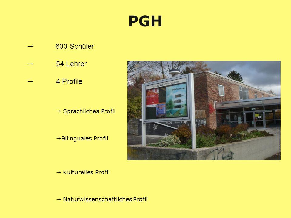 PGH 600 Schüler 54 Lehrer 4 Profile Sprachliches Profil