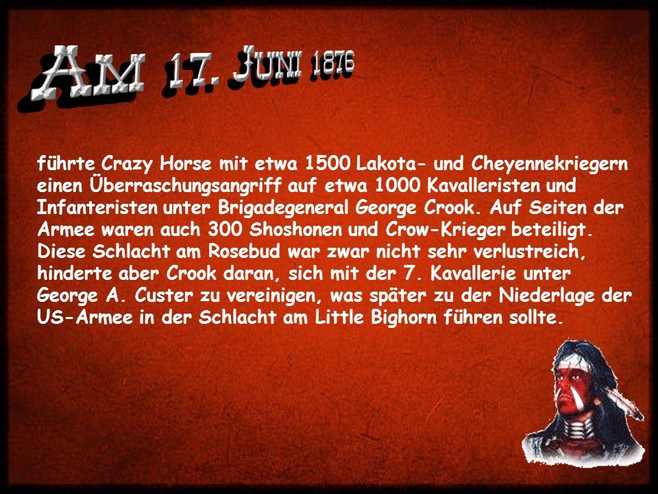 führte Crazy Horse mit etwa 1500 Lakota- und Cheyennekriegern einen Überraschungsangriff auf etwa 1000 Kavalleristen und Infanteristen unter Brigadegeneral George Crook.