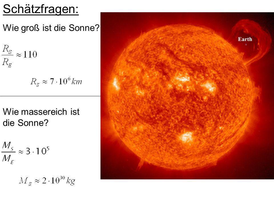 Schätzfragen: Wie groß ist die Sonne Wie massereich ist die Sonne