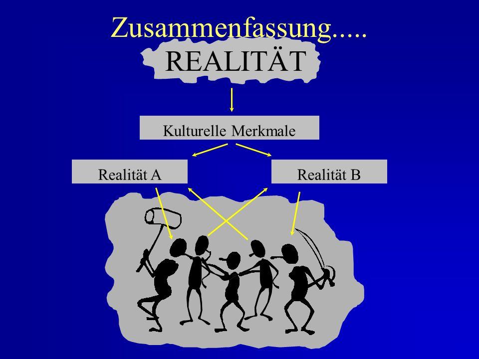 Zusammenfassung..... REALITÄT Kulturelle Merkmale Realität A