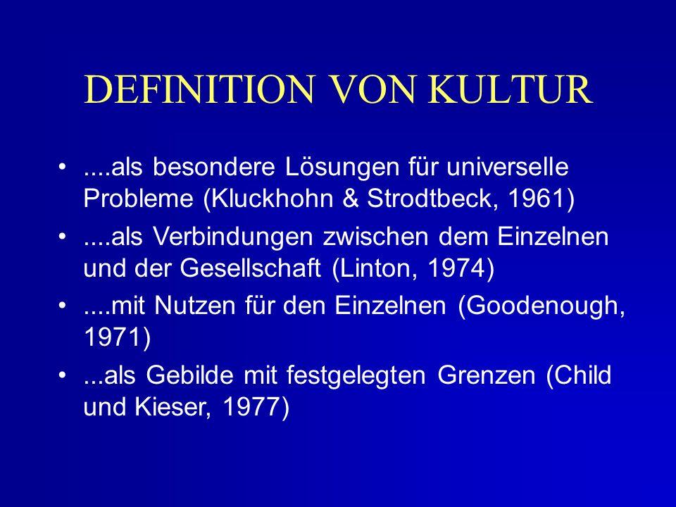 DEFINITION VON KULTUR ....als besondere Lösungen für universelle Probleme (Kluckhohn & Strodtbeck, 1961)