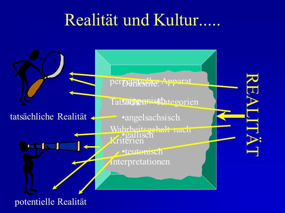 Realität und Kultur..... REALITÄT perzeptueller Apparat Denkstile: