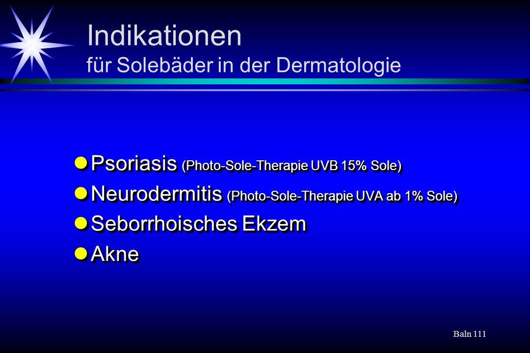 Indikationen für Solebäder in der Dermatologie
