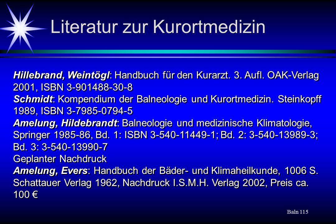 Literatur zur Kurortmedizin