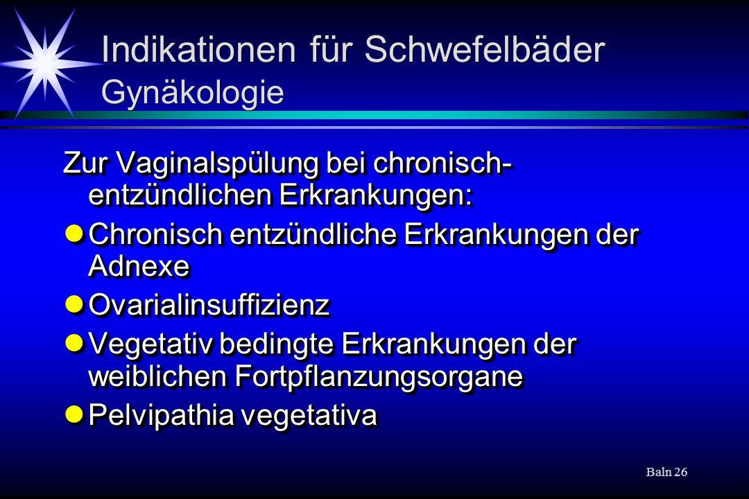 Indikationen für Schwefelbäder Gynäkologie