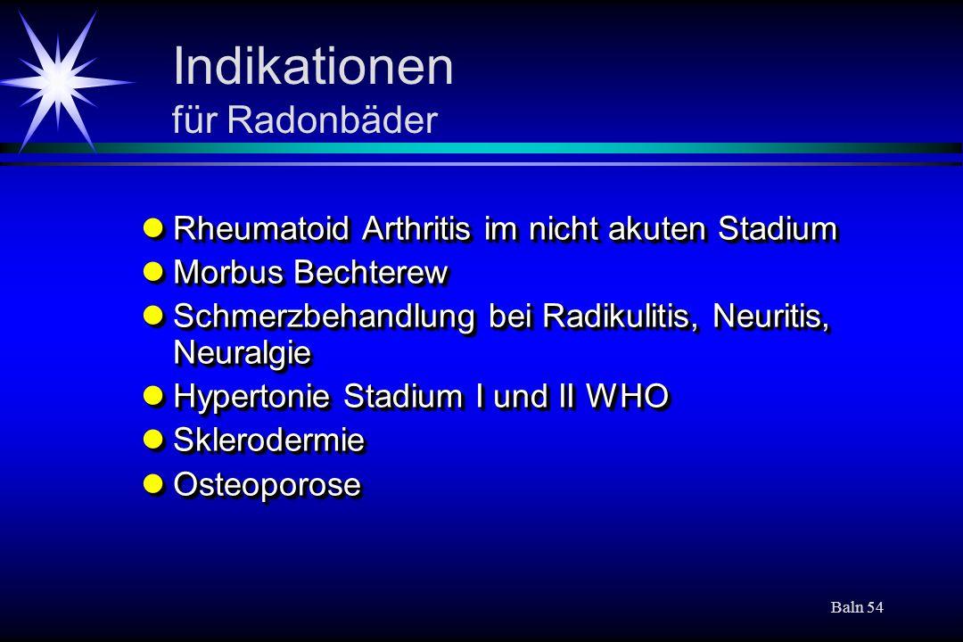 Indikationen für Radonbäder
