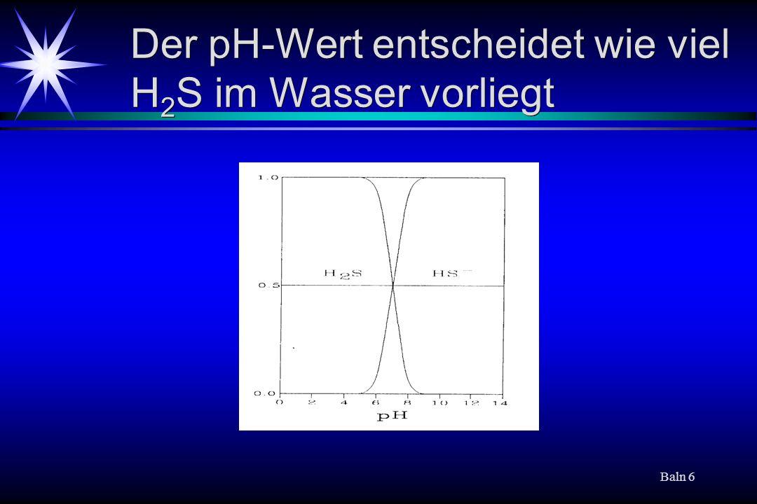 Der pH-Wert entscheidet wie viel H2S im Wasser vorliegt
