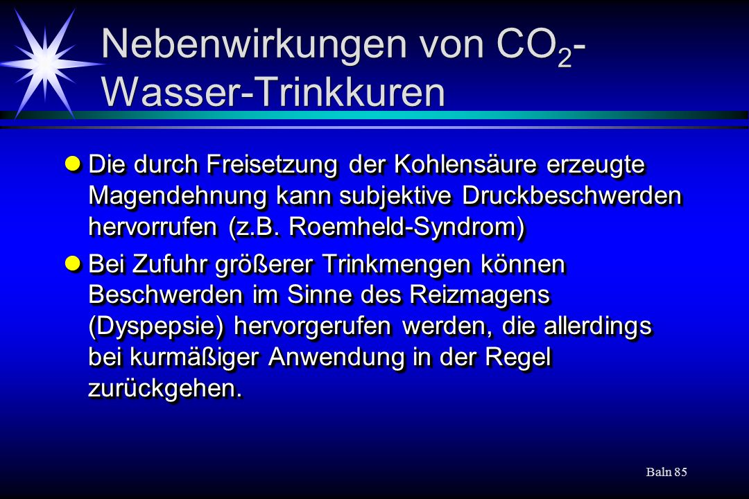 Nebenwirkungen von CO2-Wasser-Trinkkuren