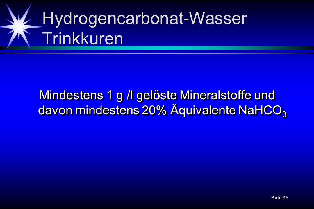 Hydrogencarbonat-Wasser Trinkkuren
