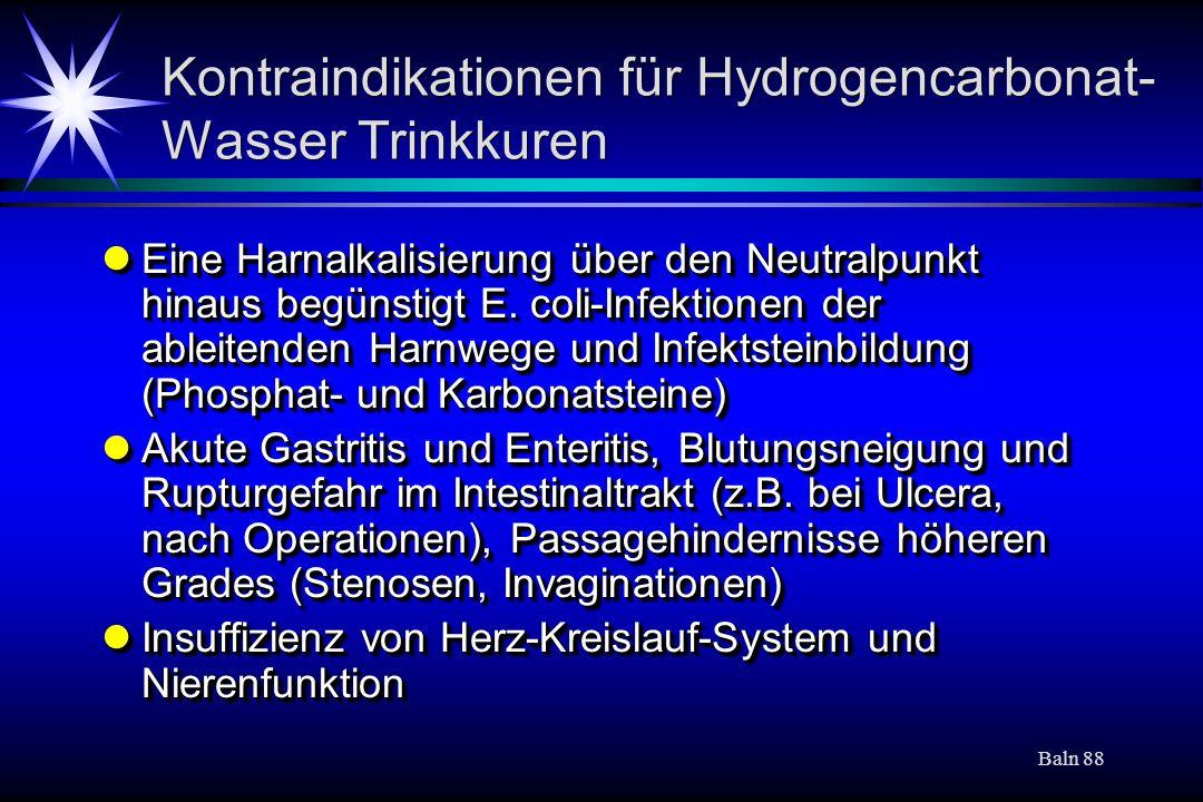 Kontraindikationen für Hydrogencarbonat-Wasser Trinkkuren