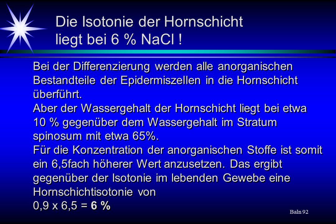 Die Isotonie der Hornschicht liegt bei 6 % NaCl !