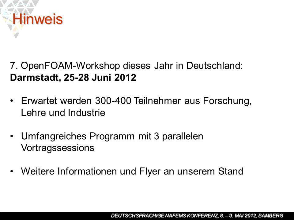 Hinweis 7. OpenFOAM-Workshop dieses Jahr in Deutschland: