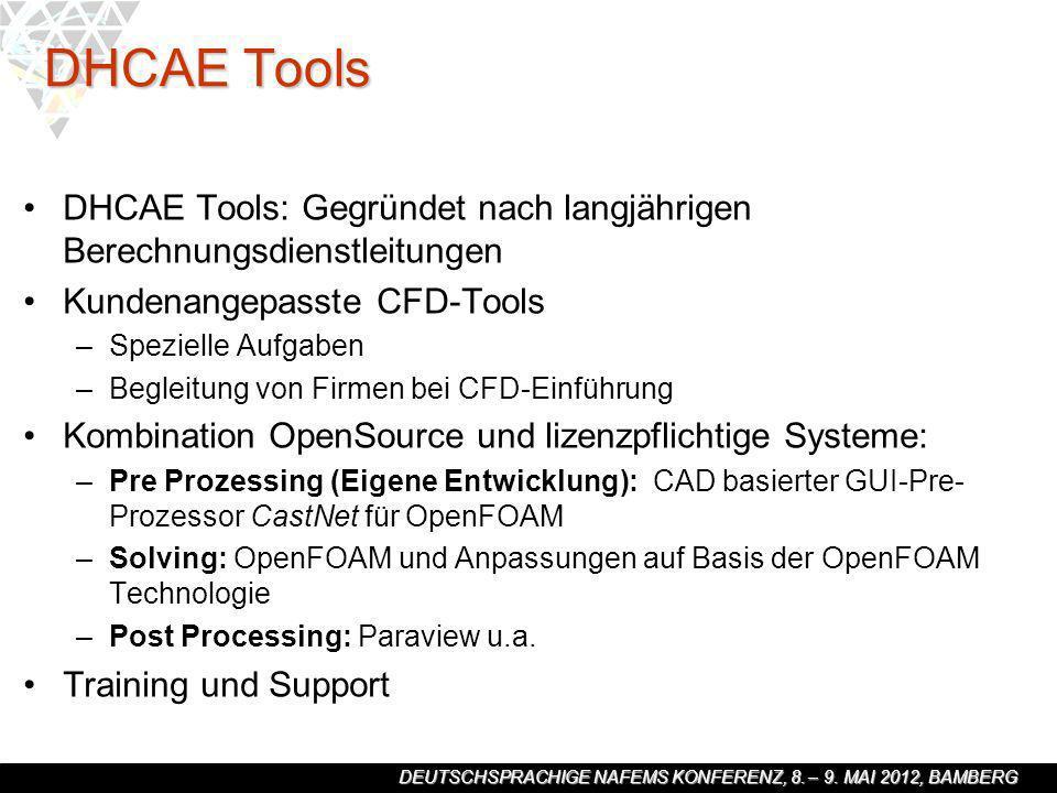 DHCAE Tools DHCAE Tools: Gegründet nach langjährigen Berechnungsdienstleitungen. Kundenangepasste CFD-Tools.