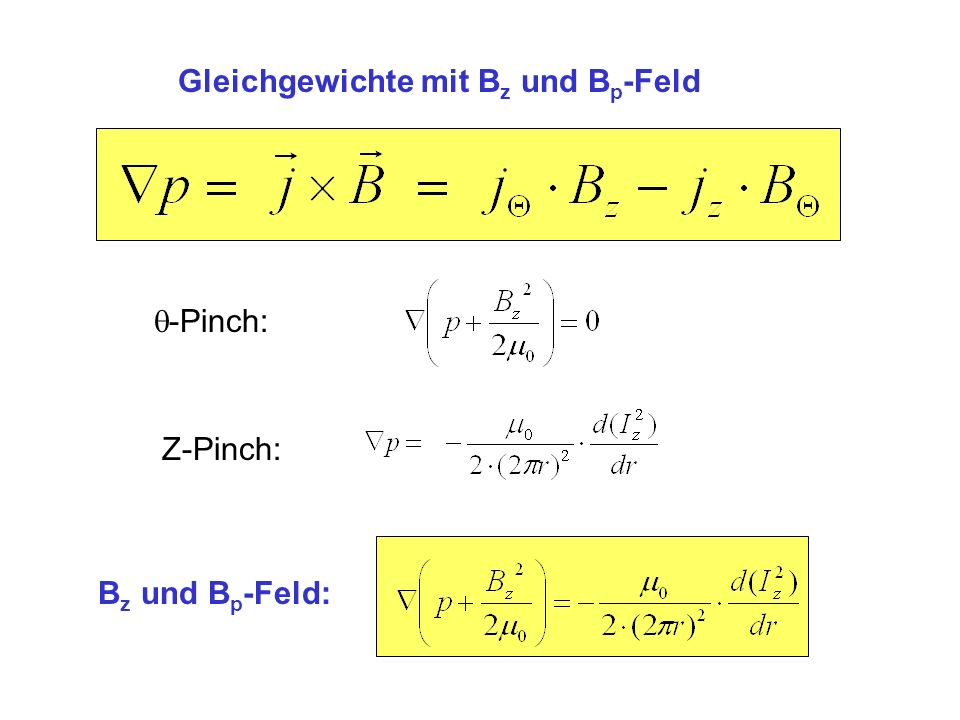 Gleichgewichte mit Bz und Bp-Feld