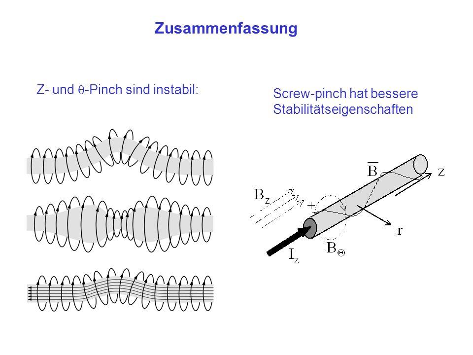 Zusammenfassung Z- und -Pinch sind instabil: