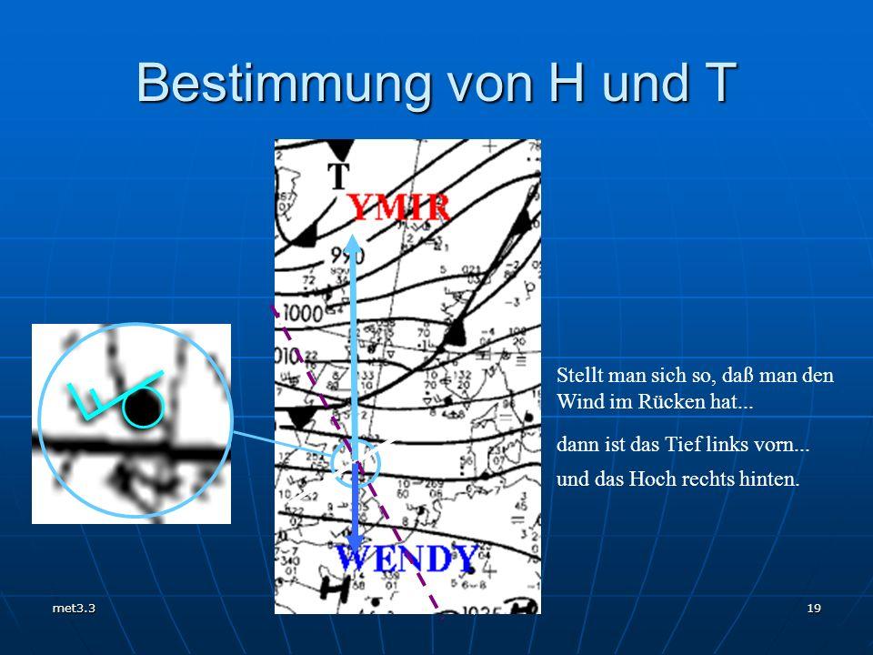 Bestimmung von H und T Stellt man sich so, daß man den Wind im Rücken hat...
