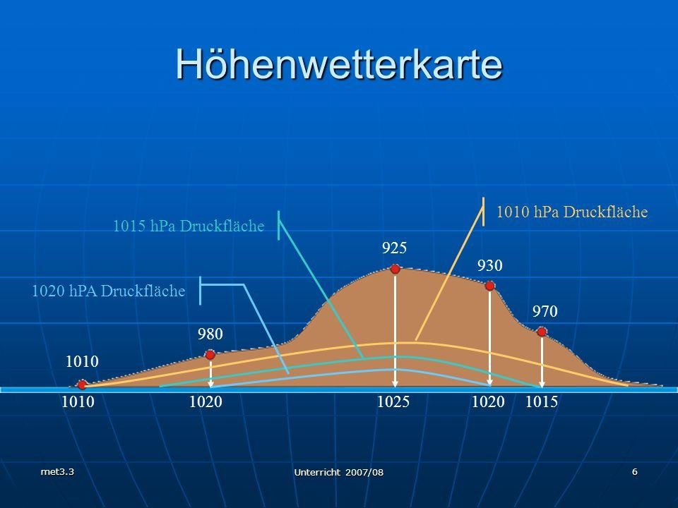 Höhenwetterkarte 1010 hPa Druckfläche 1015 hPa Druckfläche 925 930