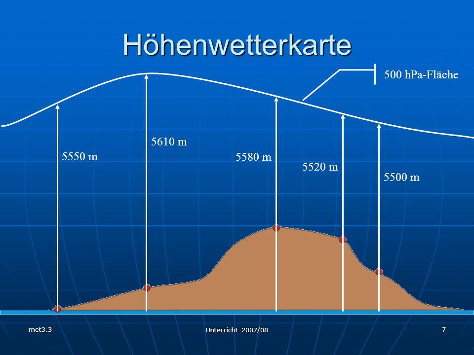 Höhenwetterkarte 500 hPa-Fläche 5610 m 5550 m 5580 m 5520 m 5500 m