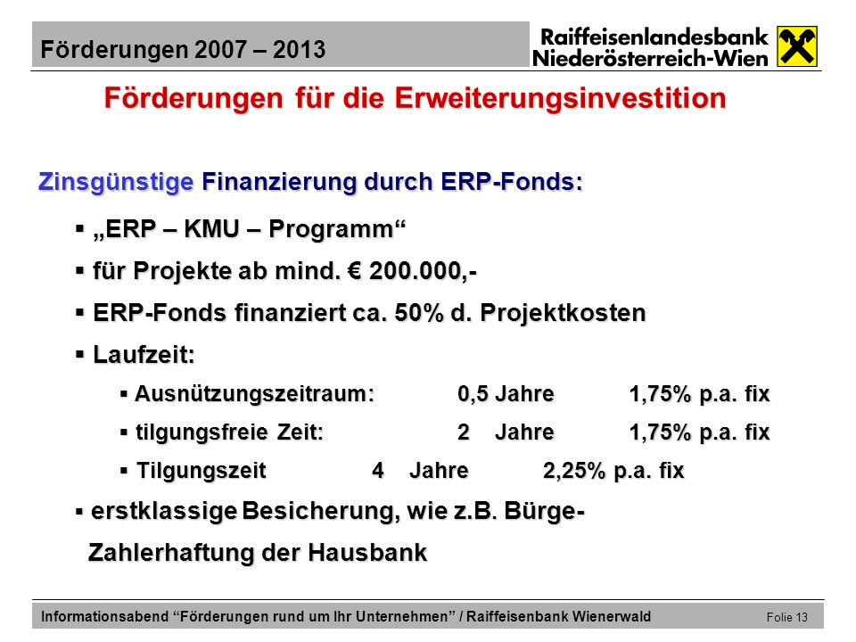 Förderungen für die Erweiterungsinvestition